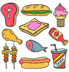 Doodle of food and drink set various vector