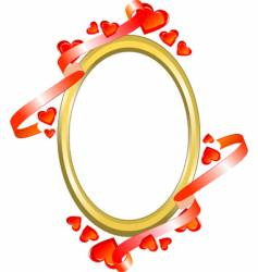 frame with hearts and ribbon vector image vector image