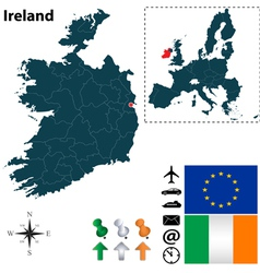 Ireland and European Union map vector image vector image