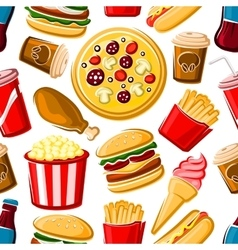 Seamless pattern of fast food dishes and drinks vector image vector image