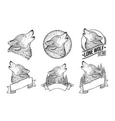 set of a howling wolves vector image vector image