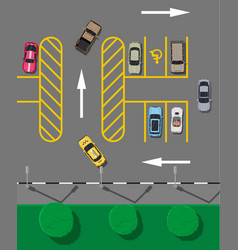 city parking lot with different cars vector image