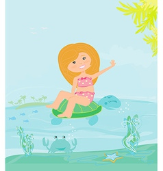 sweet happy little girl on the beach vector image vector image