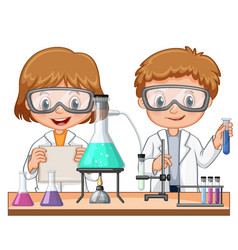 two kids doing science experiment in class vector image vector image