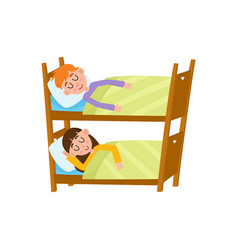 vecotr flat cartoon girl and boy sleeping in beds vector image
