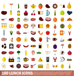 100 lunch icons set flat style vector image