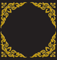 3d golden carve thai pattern vector