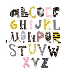 Abstract stylish alphabet creative kids font vector