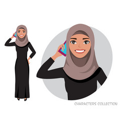 Arab women character is talking on the phone vector