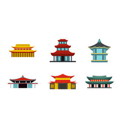 Asian castle icon set flat style vector