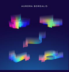 Aurora borealis abstract set vector