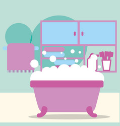 bathtub foam furniture toothbrushes and towel vector image