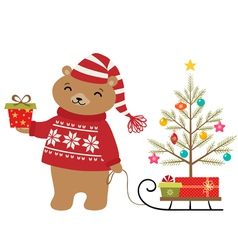 Bear Christmas tree vector image