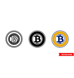 bitcoin gold icon 3 types color black and vector image