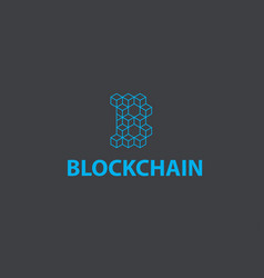 Blockchain logo or icon - 3d isometric cube vector
