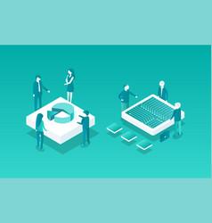 blockchain meetings set icons vector image
