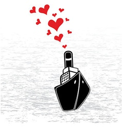 Boat love in valentines day vector image