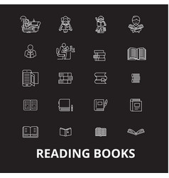 books editable line icons set on black vector image