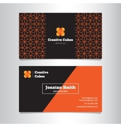 Bright geometric business card template vector