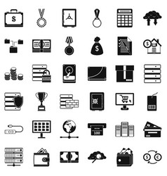 business icons set simple style vector image