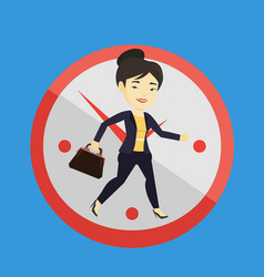 business woman running on clock background vector image