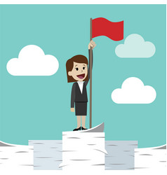 businesswoman standing on a huge tower stack of vector image