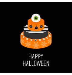 Cake with pumpkin ghost spider web and eyeballs vector