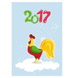 cartoon rooster characters symbol 2017 years vector image