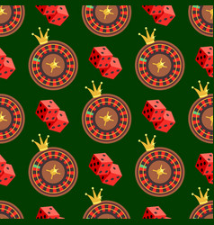 Casino and poker seamless pattern with dice and vector