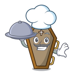 Chef with food coffin mascot cartoon style vector