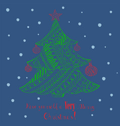 Christmas greeting card with decorated fir tree vector
