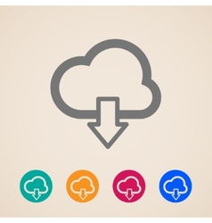Cloud with download arrow icons vector