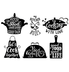 cuisine short phrases and quotes hand vector image