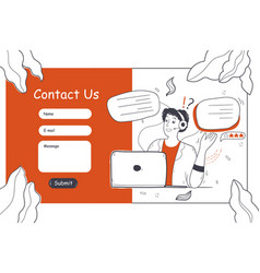 customer service online support website template vector image