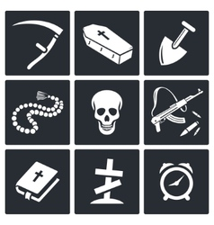 Death and burial icons set vector