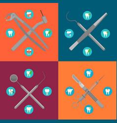 Dental instruments crosswise on color background vector