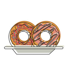 donuts with chocolate glaze on dish in watercolor vector image