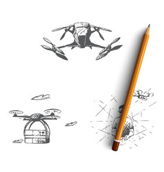 drones - equipment and extensions remote vector image