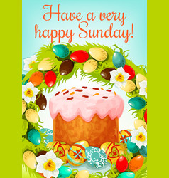 Easter sunday greeting card with cake and eggs vector