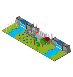 Energy station with two dam walls vector