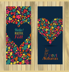 fall set leaves compositionbanners of autumn vector image