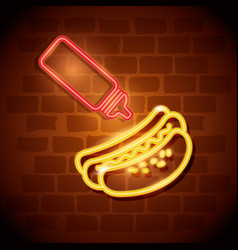 Fast food hot dog neon label vector