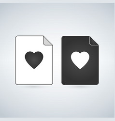 favorite document file icon with heart flat sign vector image