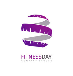 Fitness logo concept stylized measuring vector