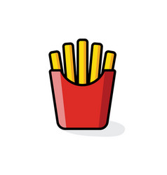 french fries colour icon vector image