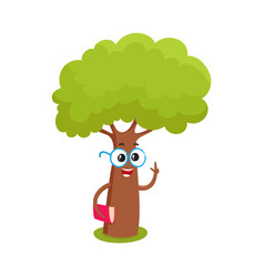funny smart comic tree character in round glasses vector image