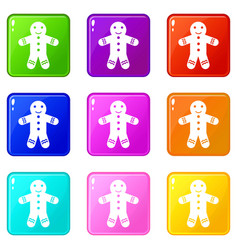 Gingerbread man set 9 vector