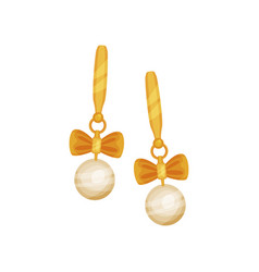 gold earrings with pearls fashionable jewelry vector image