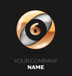 golden number six logo in the silver-golden circle vector image