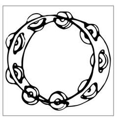 Greeting card with tambourine linear hand drawn vector